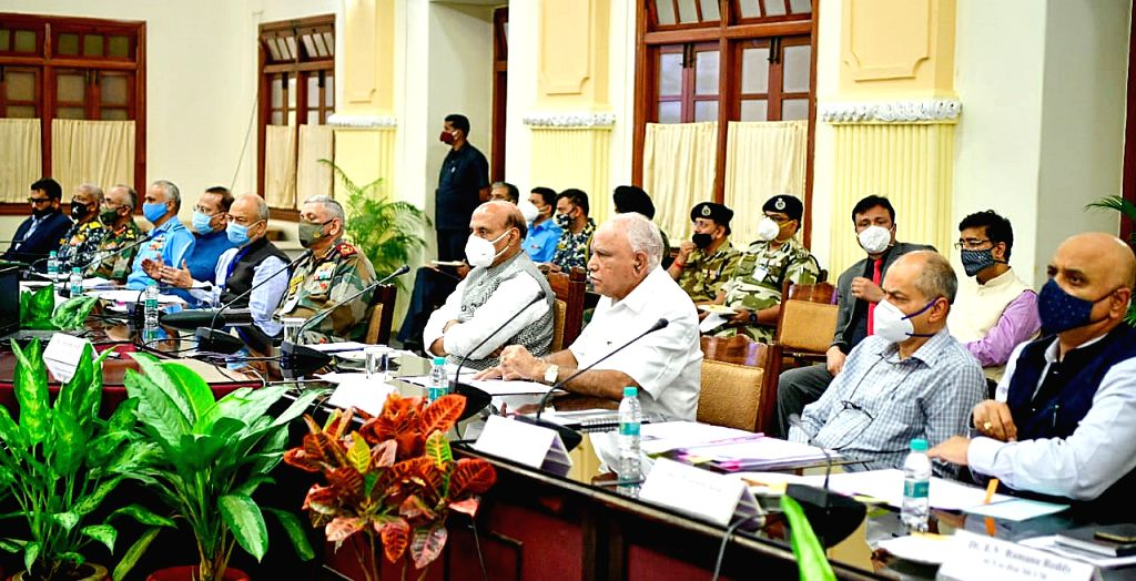 Defence Minister Rajnath Singh with Karnataka Chief Minister B.S Yediurappa , Chief Defense Staff General Bipin Rawat and officials at a meeting on Aero India 2021 in Bengaluru on Friday - photo by ... - Rajnath Singh