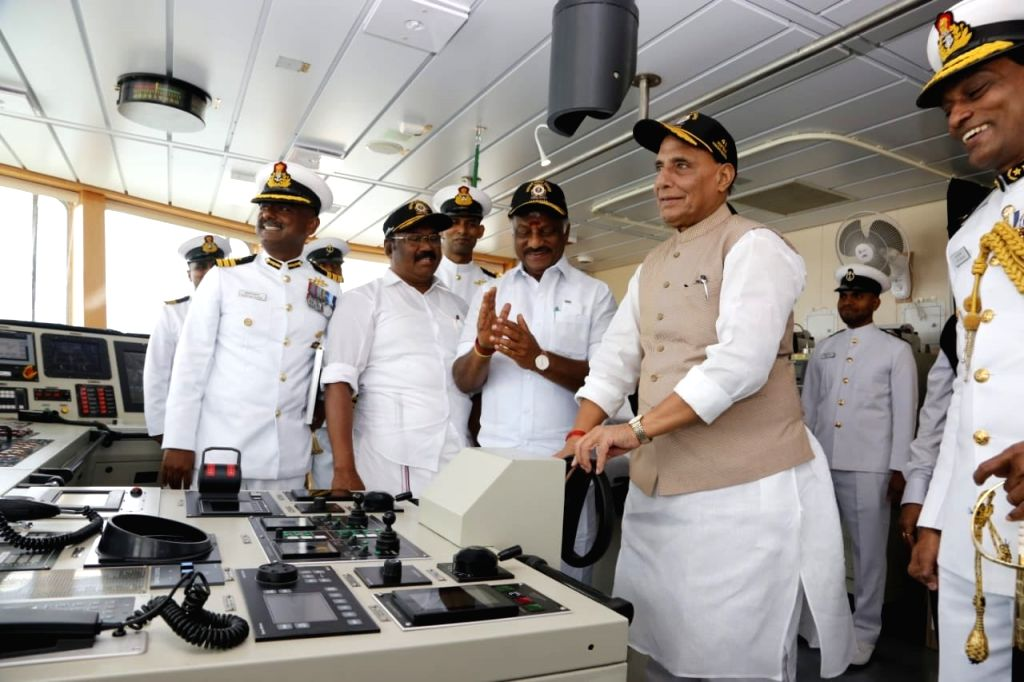 Defence Minister Rajnath Singh with Tamil Nadu Deputy Chief Minister O. Panneerselvam at the Commissioning ceremony of the Indian Coast Guard Ship (ICGS) Varaha in Chennai, on Sep 25, 2019. - Rajnath Singh