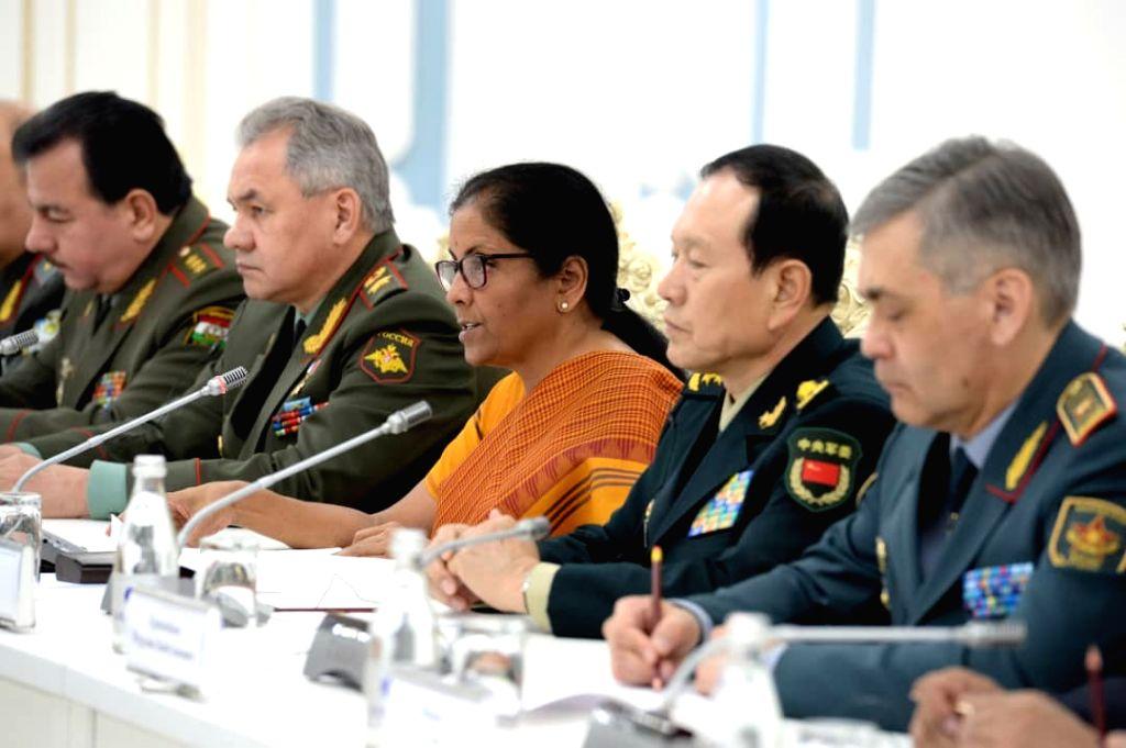 Defence Ministers of Shanghai Cooperation Organisation (SCO) member states, including Defence Minister Nirmala Sitharaman calls on Kyrgyz President Sooronbay Jeenbekov in Bishkek, ... - Nirmala Sitharaman