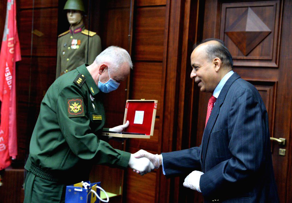 Defence Secretary Ajay Kumar and Russian Deputy Defence Minister Col. General A.V. Fomin during a meeting in Moscow on June 23, 2020. - Col and Secretary Ajay Kumar