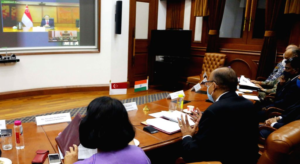 Defence Secretary Ajay Kumar with the Permanent Secretary (Defence), Singapore Chan Heng Kee co-chairs the 14th India-Singapore Defence Policy Dialogue (DPD) via video conferencing, in New ... - Secretary Ajay Kumar
