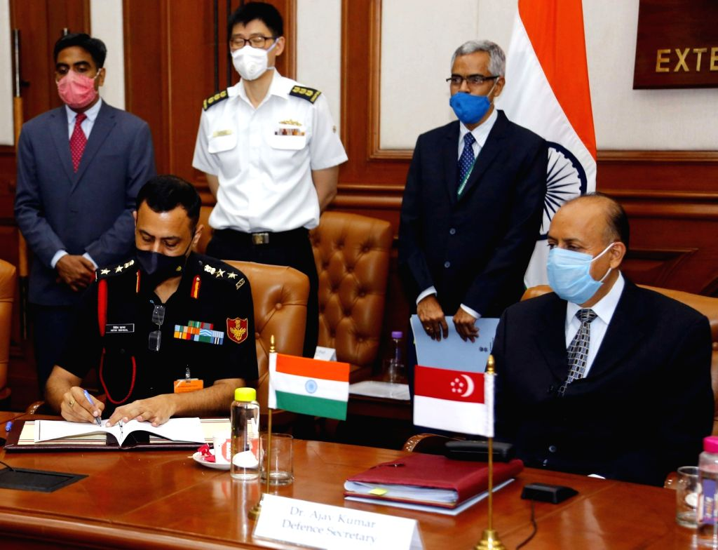 Defence Secretary Ajay Kumar witnesses the signing of Implementing Arrangement on Humanitarian Assistance & Disaster Relief (HADR) between India and Singapore, during the 14th ... - Secretary Ajay Kumar