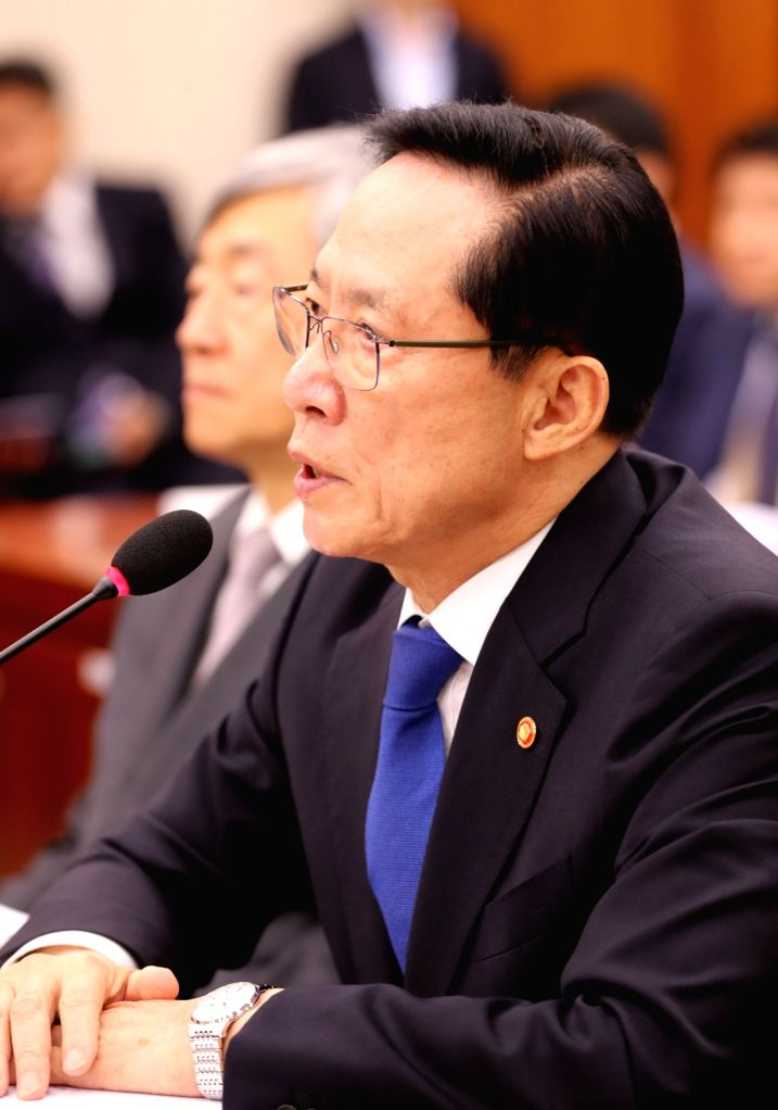 Defense Minister Song Young-moo speaks at a parliamentary hearing at the National Assembly in Seoul on July 20, 2018, on allegations the Defense Security Command (DSC) drew up a document on ... - Song Young
