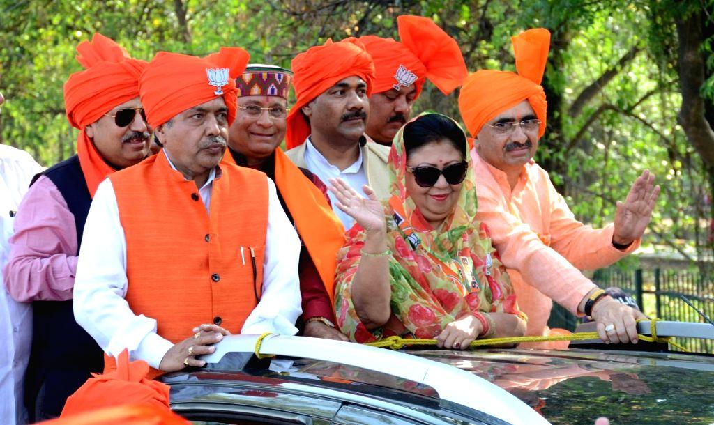 Dehradun: BJP MP and the party's Lok Sabha candidate from Tehri Garhwal, Mala Rajya Laxmi Shah during a roadshow ahead of 2019 Lok Sabha elections, in Dehradun on April 9, 2019. (Photo: IANS)