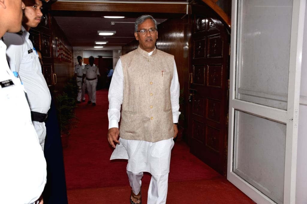 Dehradun: Uttarakhand Chief Minister Trivendra Singh Rawat arrives at the state assembly on the second day of the monsoon session, in Dehradun on June 25, 2019. (Photo: IANS) - Trivendra Singh Rawat