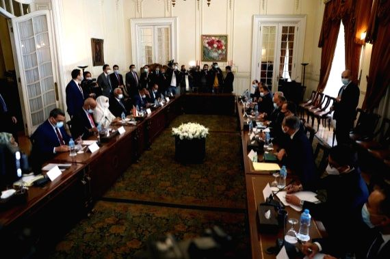 Delegations led by Egyptian Foreign Sameh Shoukry and his Sudanese counterpart Mariam al-Sadiq al-Mahdi hold a meeting in Cairo, Egypt on March 2, 2021.