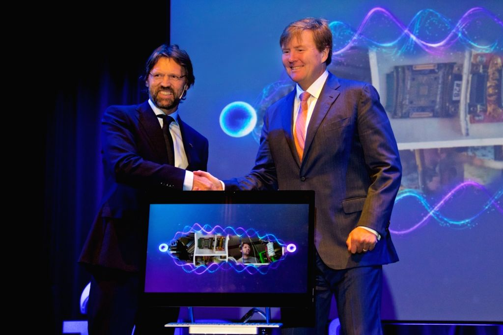 DELFT (THE NETHERLANDS), Feb. 21, 2019 Dutch King Willem-Alexander (R) and Professor Leo Kouwenhoven attend the opening ceremony of the Microsoft Quantum Lab Delft on the campus of Delft ...