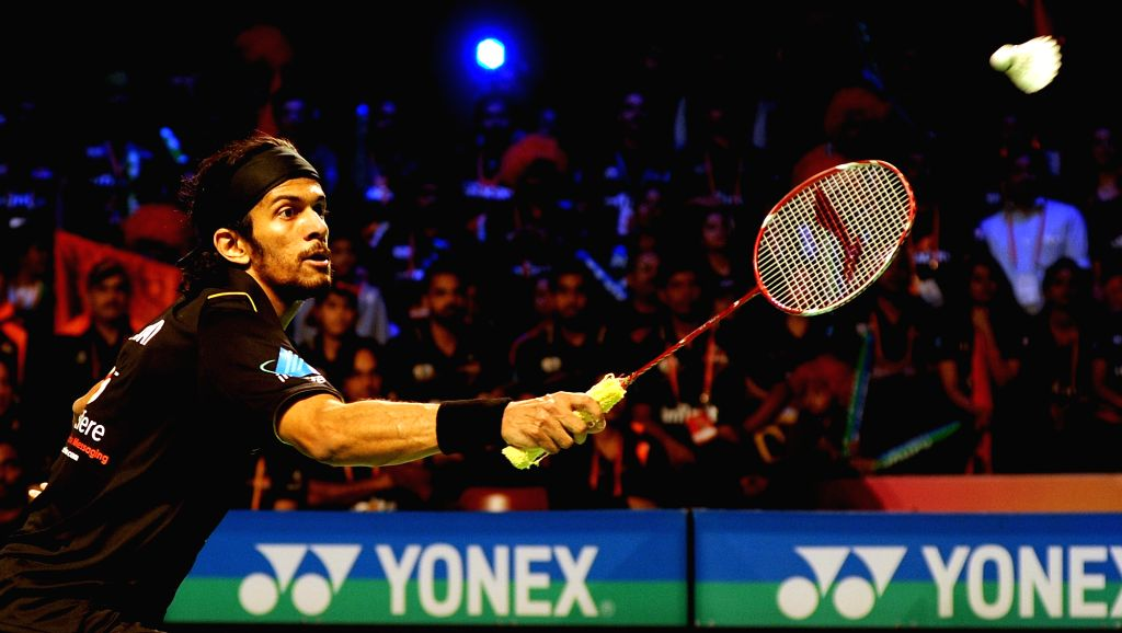 Delhi Acers Ajay Jayram in action against Chennai Smashers during a Premier Badminton League match at Kanteerava Stadium in Bengaluru, on Jan 14, 2016.
