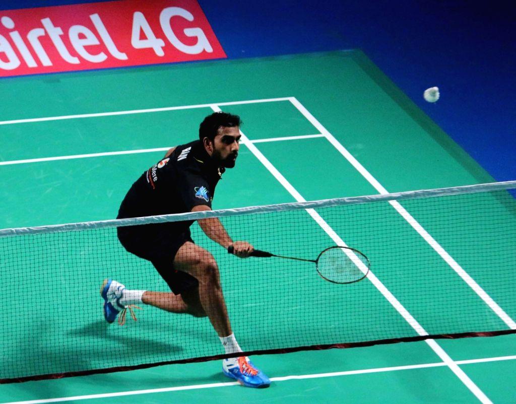 Delhi Acers' Rajiv Ouseph in action against RMV. Gurusaisdutt of Mumbai Rockets during Premier Badminton League final match in New Delhi, on Jan 18, 2016. Delhi Acers won.