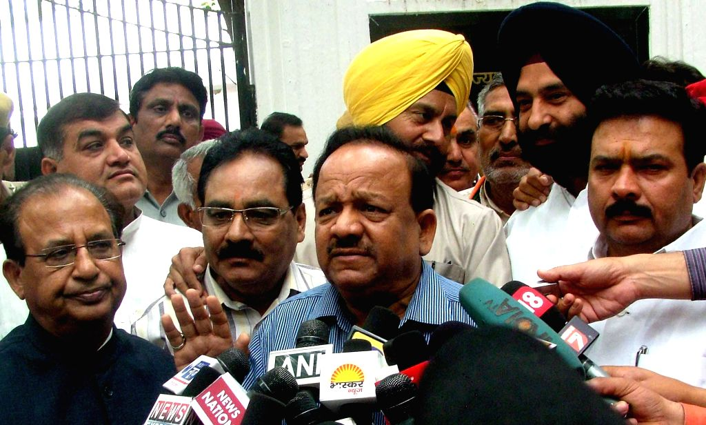 Delhi BJP chief Harsh Vardhan addresses press after meeting Delhi Lt. Governor Najeeb Jung in New Delhi on May 6, 2014.
