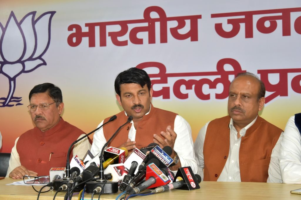 Delhi BJP chief Manoj Tiwari addresses a press conference regarding Municipal Corporation of Delhi (MCD) polls, in New Delhi on March 14, 2017.