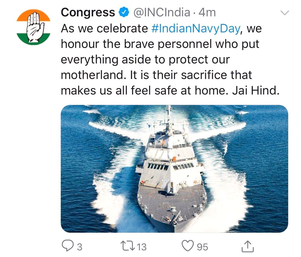 Delhi BJP Chief Manoj Tiwari got trolled on Wednesday for congratulating Indian Navy on the occasion of Navy day for using the picture of a ship that's carrying a US national flag. However, the ...