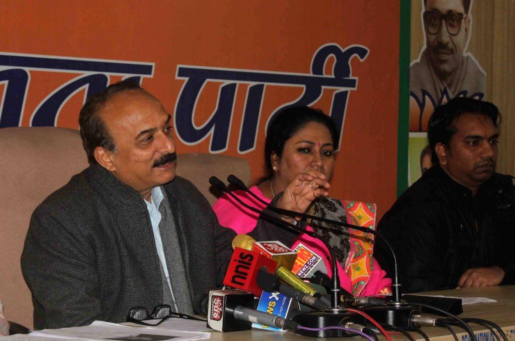 Delhi BJP leaders address a press conference in New Delhi on Jan 21, 2016.
