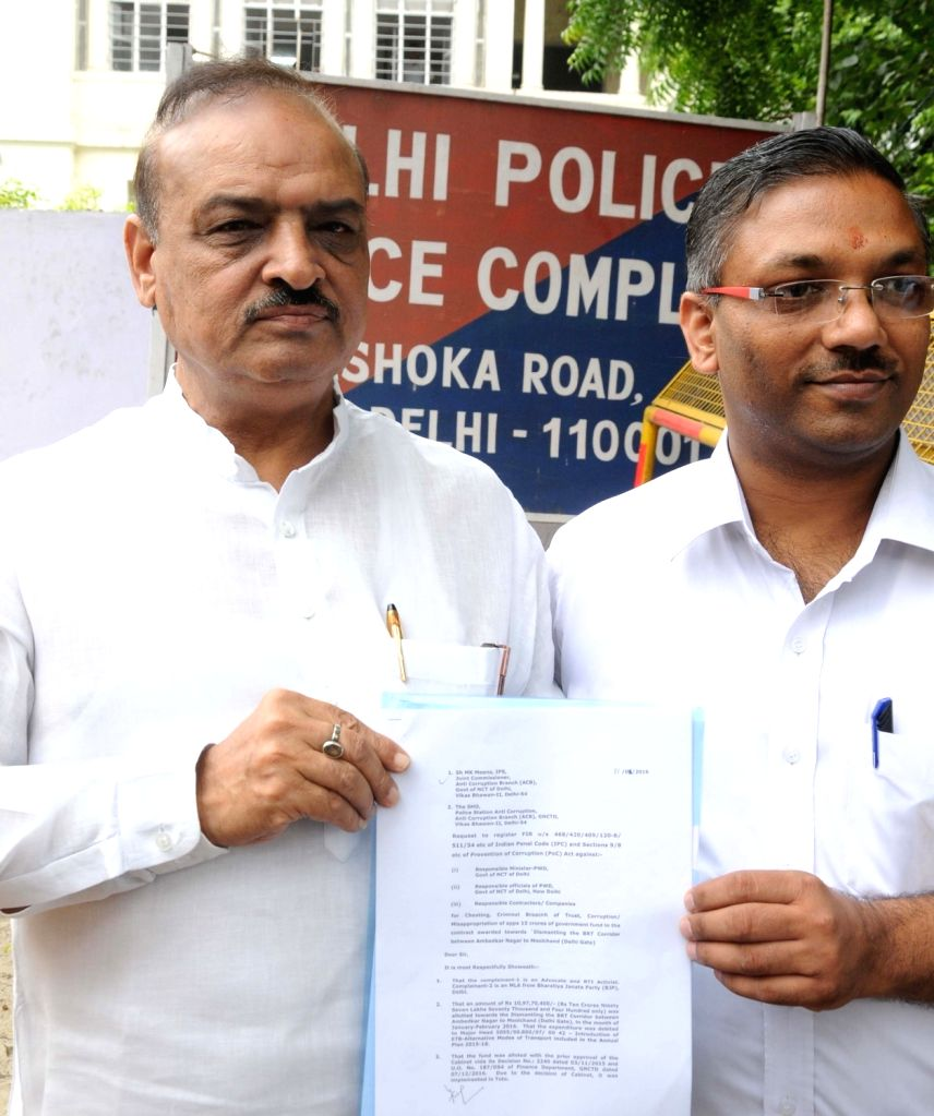 Delhi BJP legislator OP Sharma comes out after lodging a complaint against Delhi government regarding dismantling of BRT corridor in New Delhi, on July 11, 2016.