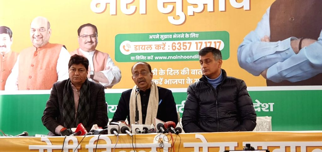 Delhi BJP MP Vijay Goel addresses a press conference in New Delhi on Jan 11, 2020.