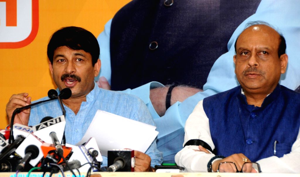 Delhi BJP President Manoj Tiwari addresses a press conference at the party office in New Delhi on Sep 6, 2019.