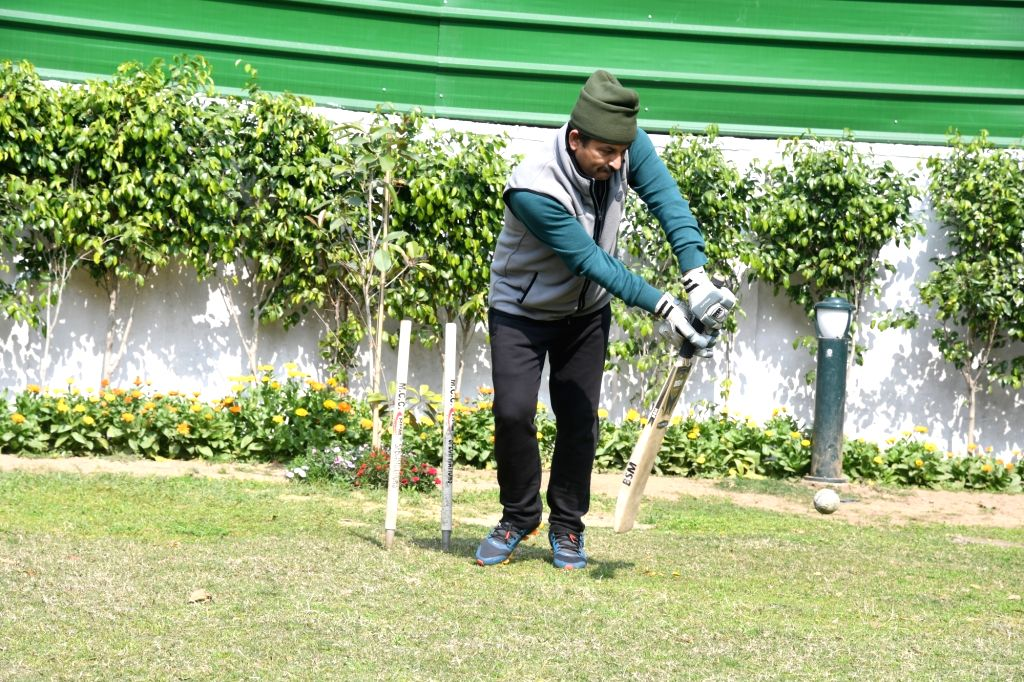 Delhi BJP President Manoj Tiwari spends time playing cricket at his residence a day after voting for Delhi Assembly elections 2020 got over, on Feb 9, 2020.