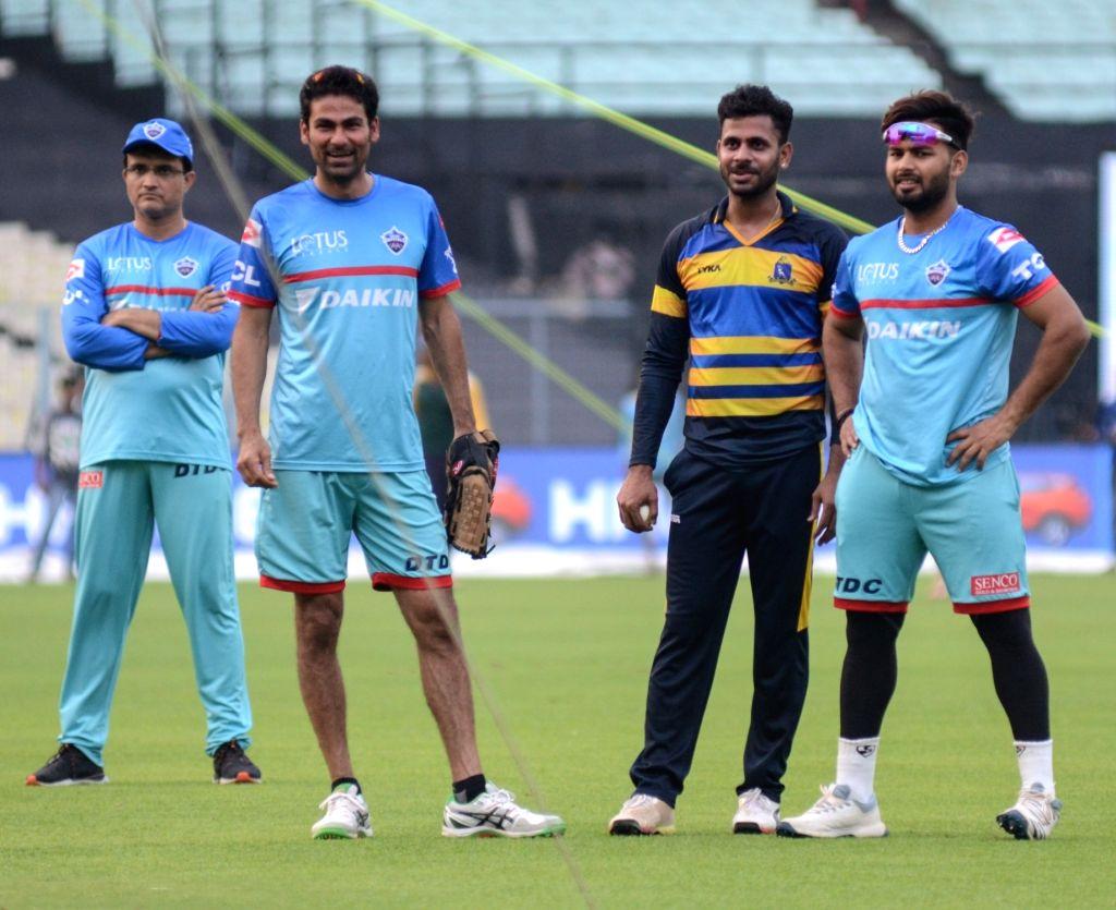 Delhi Capitals' advisor Sourav Ganguly, assistant coach Mohammad Kaif, Manoj Tiwari and Rishabh Pant during a practice session in Kolkata on April 11, 2019. - Sourav Ganguly