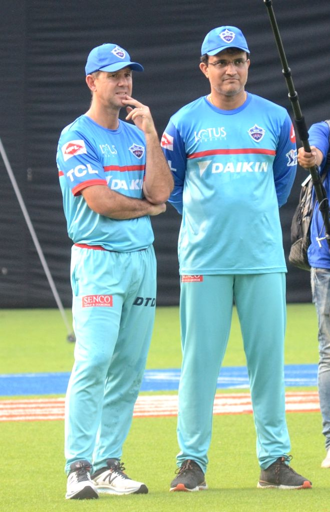 Delhi Capitals coach Ricky Ponting and advisor Sourav Ganguly during a practice session in Kolkata on April 11, 2019. - Sourav Ganguly