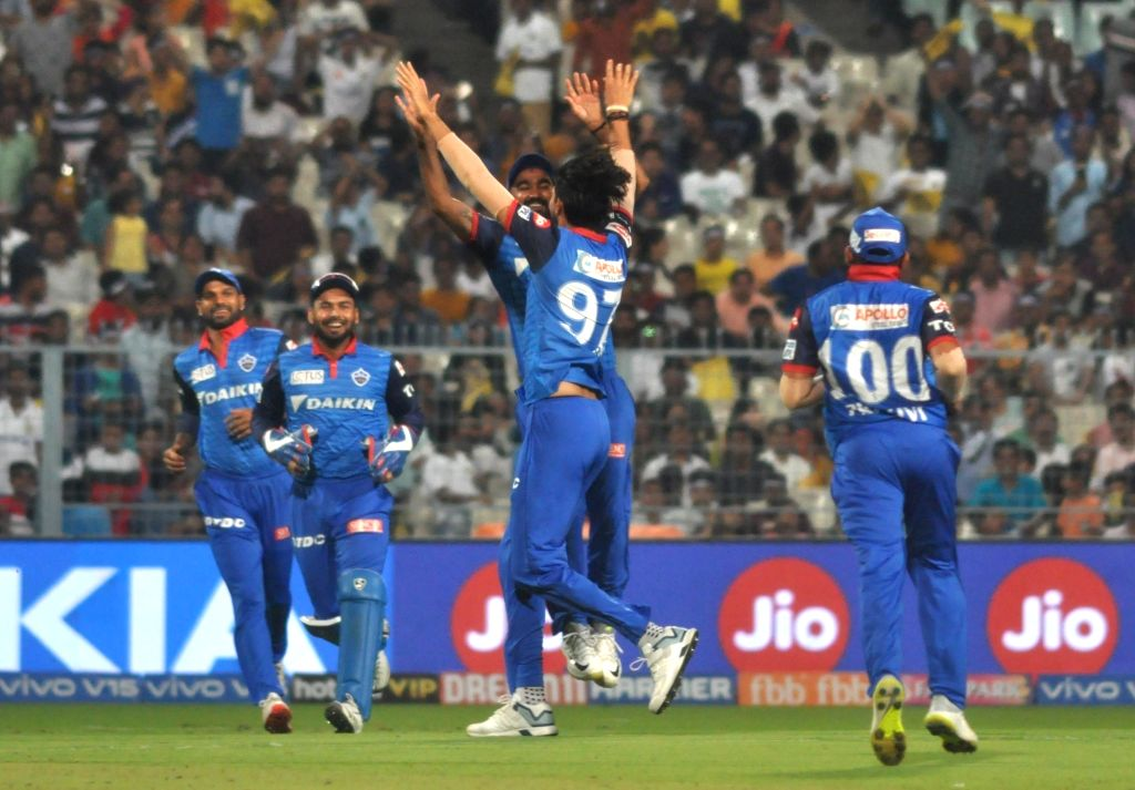 Delhi Capitals' Ishant Sharma celebrates fall of Joe Denly's wicket during the 26th match of IPL 2019 between Kolkata Knight Riders and Delhi Capitals at Eden Gardens in Kolkata on April 12, ... - Ishant Sharma