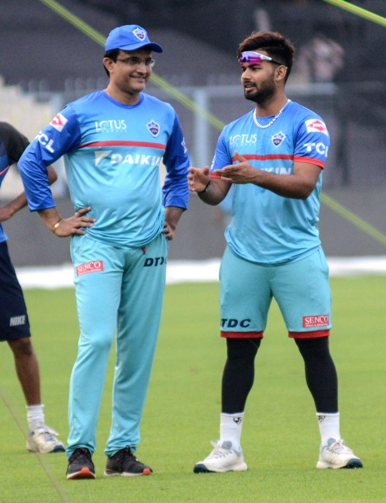 Delhi Capitals' Rishabh Pant and advisor Sourav Ganguly during a practice session in Kolkata on April 11, 2019. - Sourav Ganguly