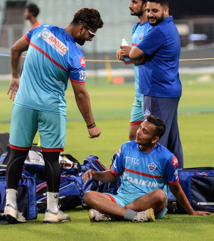 Delhi Capitals' Rishabh Pant and Prithvi Shaw during a practice session in Kolkata on April 11, 2019.