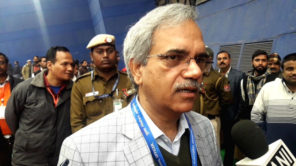 Delhi Chief Electoral Officer (CEO) Ranbir Singh talks to the media personnel during his visit to the Trilokpuri counting center during the counting of votes for the Delhi Assembly ... - Ranbir Singh