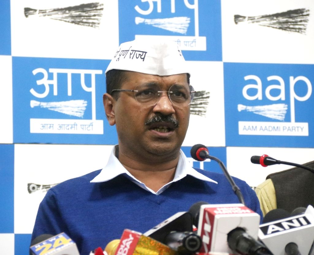 Delhi Chief Minister and Aam Aadmi Party (AAP) chief Arvind Kejriwal addresses a press conference in New Delhi on March 12, 2019. - Arvind Kejriwal