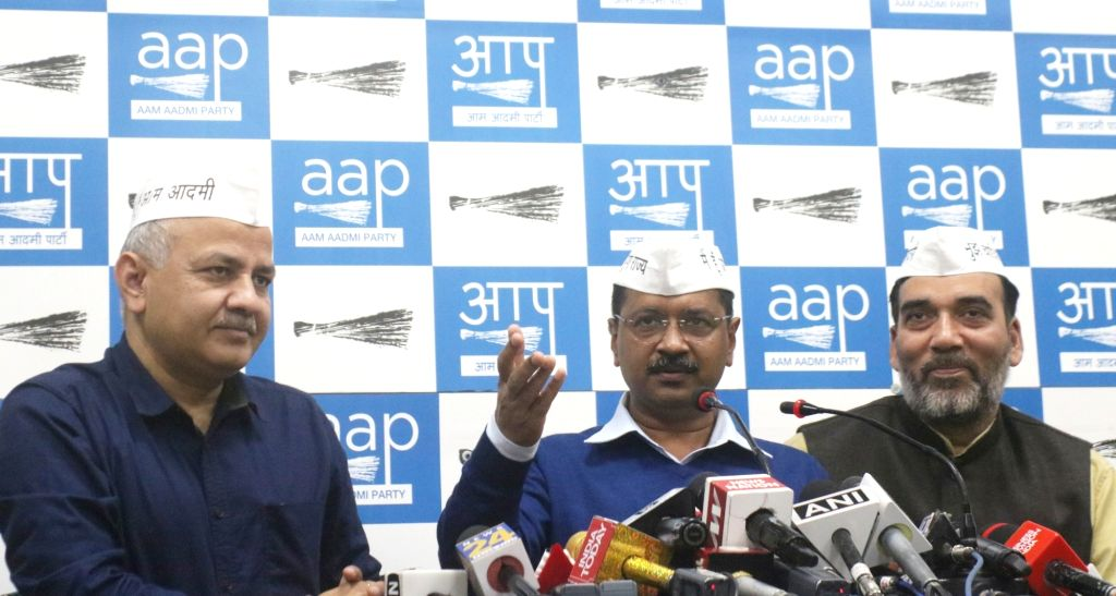 Delhi Chief Minister and Aam Aadmi Party (AAP) chief Arvind Kejriwal accompanied by State Cabinet Ministers and party leaders Manish Sisodia and Gopal Rai, addresses a press conference in ... - Arvind Kejriwal and Gopal Rai