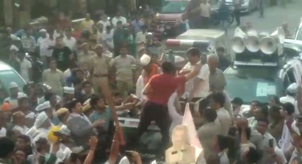 Delhi Chief Minister and Aam Aadmi Party (AAP) convenor Arvind Kejriwal was slapped during a road show in west Delhi's Moti Nagar area on May 4, 2019. - Arvind Kejriwal