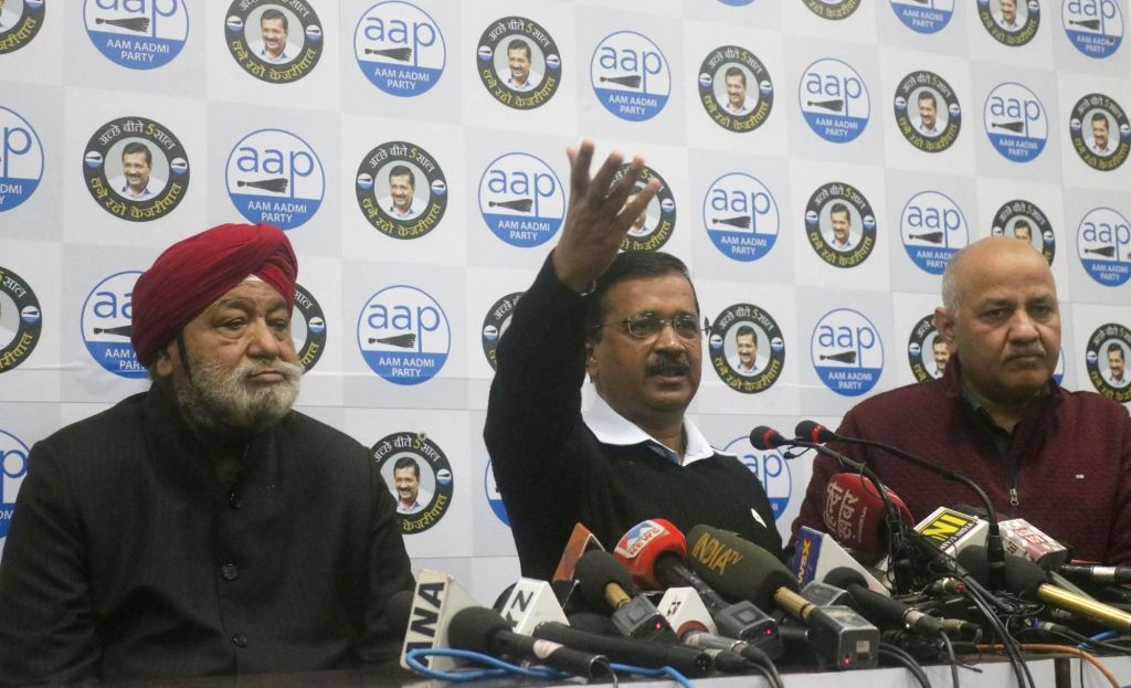 Delhi Chief Minister AND Aam Aadmi Party (AAP) national convener Arvind Kejriwal accompanied by Deputy Chief Minister Manish Sisodia, addresses a press conference where four-time BJP ... - Arvind Kejriwal and Harsharan Singh Balli