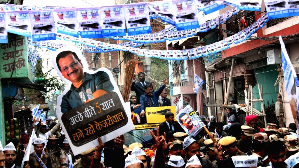Delhi Chief Minister and Aam Aadmi Party (AAP) National convener Arvind Kejriwal holds a roadshow ahead of Delhi Assembly elections, at Karawal Nagar on Jan 28, 2020. - Arvind Kejriwal