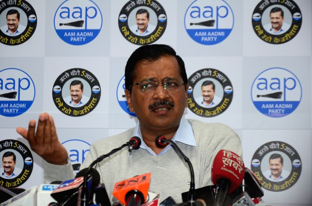 Delhi Chief Minister and Aam Aadmi Party chief Arvind Kejriwal addresses a press conference in New Delhi on Feb 5, 2020. - Arvind Kejriwal