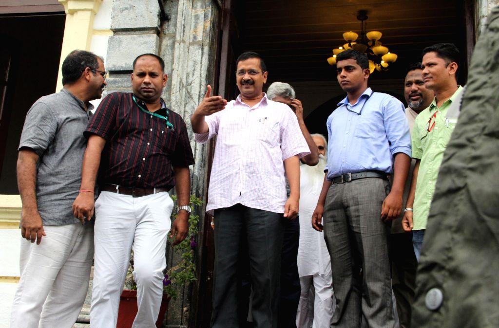 Delhi Chief Minister and AAP leader Arvind Kejriwal comes out after meeting Archbishop of Goa, Filipe Neri Ferrao at Bishop Palace in Altinho, Panaji on June 30, 2016. - Arvind Kejriwal