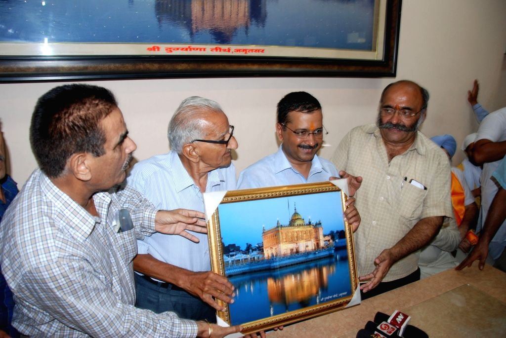 Delhi Chief Minister and AAP leader Arvind Kejriwal visits Durgiana Temple in Amritsar on July 3, 2016. - Arvind Kejriwal