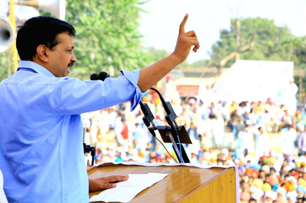 Delhi Chief Minister and AAP leader Arvind Kejriwal addresses a rally in Moga district of Punjab on Nov 22, 2016. - Arvind Kejriwal