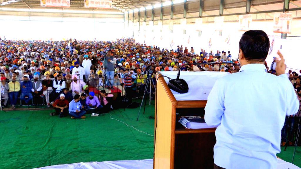 Delhi Chief Minister and AAP leader Arvind Kejriwal addresses a rally at Samrala in Ludhiana district of Punjab on Nov 25, 2016. - Arvind Kejriwal