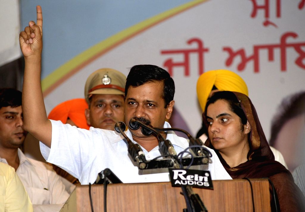 Delhi Chief Minister and AAP leader Arvind Kejriwal addresses during a party meeting in Amritsar on May 29, 2017. - Arvind Kejriwal