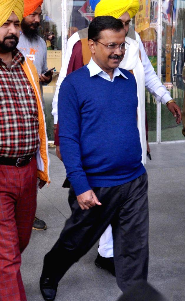 Delhi Chief Minister and AAP leader Arvind Kejriwal arrives to attend the wedding ceremony of AAP leader Baljinder Kaur in Amritsar on Feb 19, 2019. - Arvind Kejriwal and Baljinder Kaur