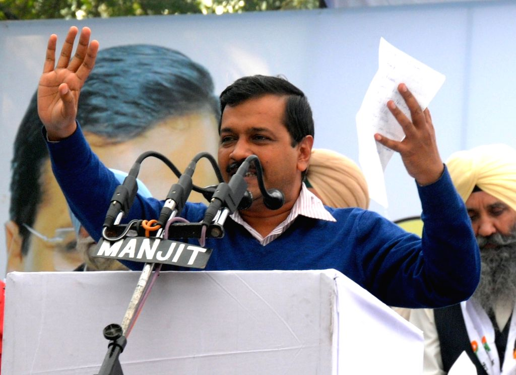 Delhi Chief Minister and AAP national convener Arvind Kejriwal addresses during a rally in Amritsar on Nov 30, 2016. - Arvind Kejriwal