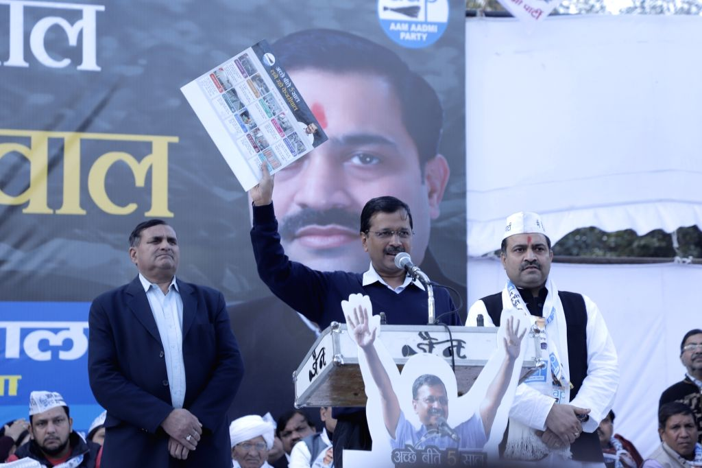 Delhi Chief Minister and AAP national convenor Arvind Kejriwal addresses during a public meeting ahead of February 8 Assembly elections, in North West Delhi's Rohini Sector - 9, on Jan 24, ... - Arvind Kejriwal