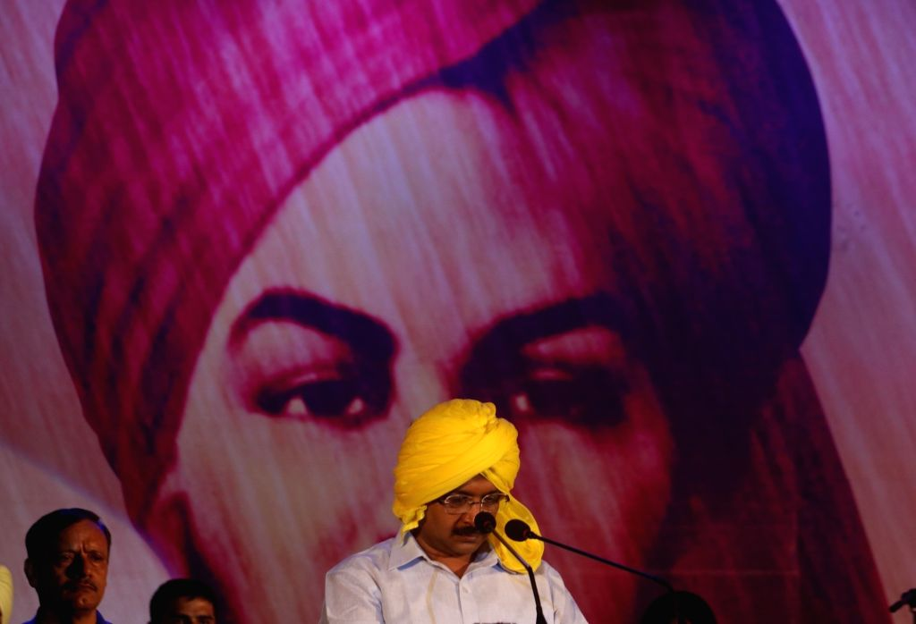 Delhi Chief Minister Arvind Kejriwal addresses during a programme organised on the eve of martyr Bhagat Singh's birth anniversary on Sept 27, 2016. - Arvind Kejriwal and Bhagat Singh
