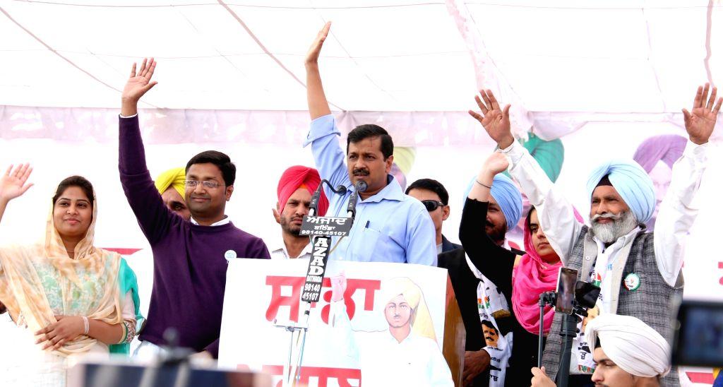 Delhi Chief Minister Arvind Kejriwal addresses during a public rally in Bathinda on Nov 21, 2016. - Arvind Kejriwal