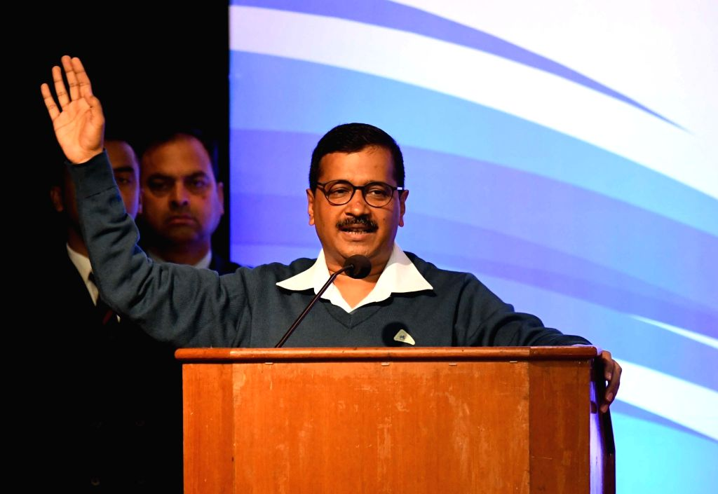 Delhi Chief Minister Arvind Kejriwal addresses during a programme organised on completion of three years of Delhi Government, on Feb 14, 2018. - Arvind Kejriwal