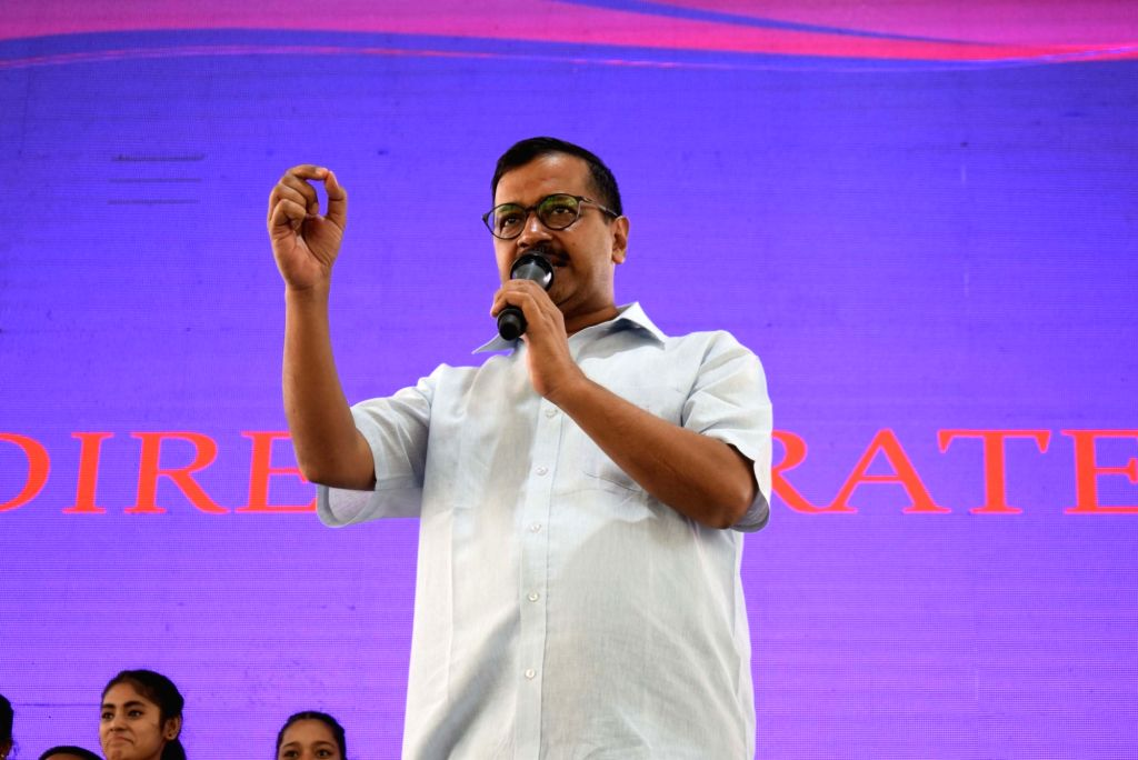 Delhi Chief Minister Arvind Kejriwal addresses during a programme organised to inaugurate swimming pools in two Delhi government schools, in New Delhi on April 7, 2018. - Arvind Kejriwal
