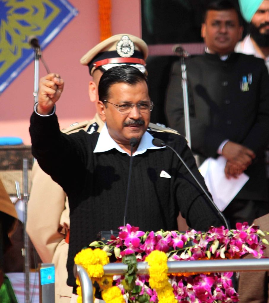 Delhi Chief Minister Arvind Kejriwal addresses during the 71st Republic Day celebrations organised by the Delhi Government, on Jan 25, 2020. - Arvind Kejriwal