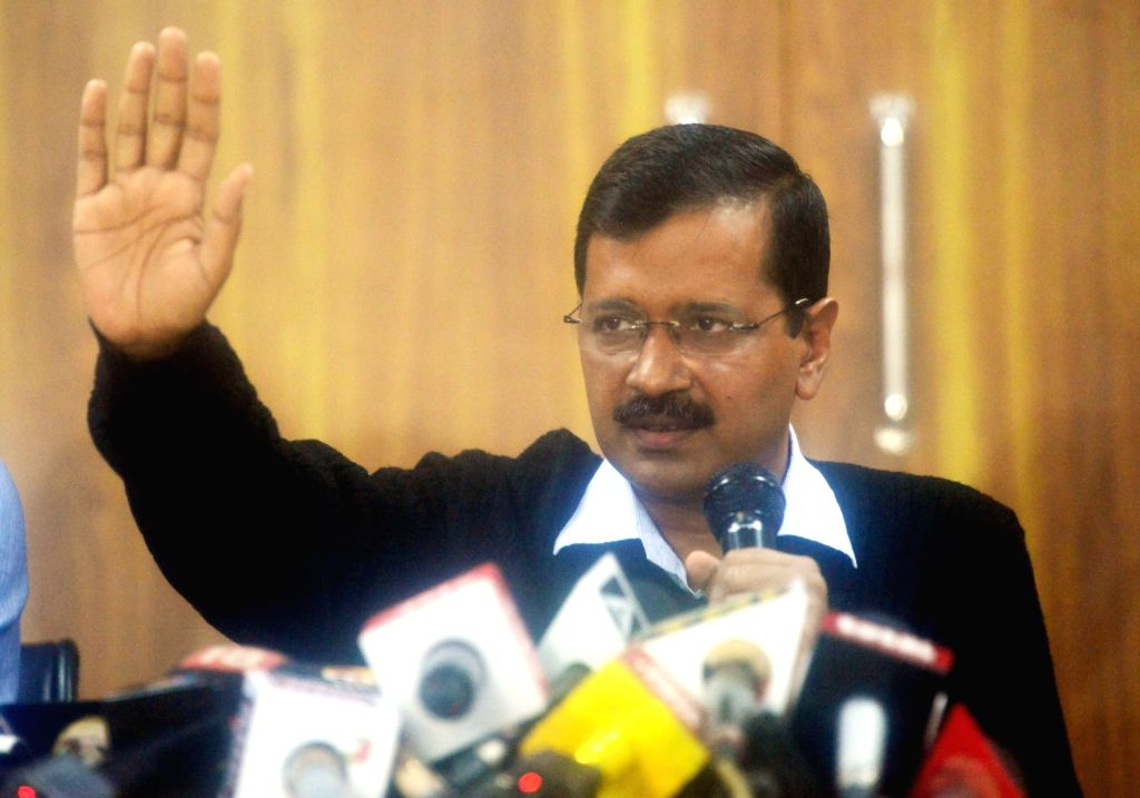 Delhi Chief Minister Arvind Kejriwal addresses a press conference in New Delhi on March 15, 2017. - Arvind Kejriwal