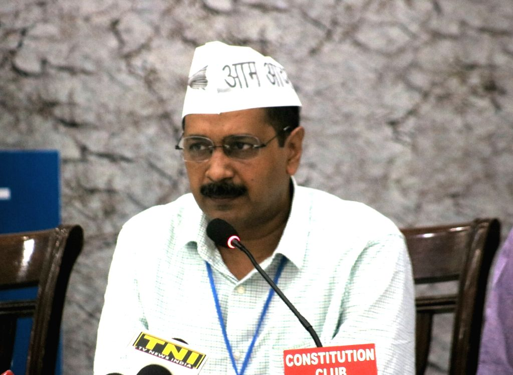 Delhi Chief Minister Arvind Kejriwal addresses a National Farmers Convention organised by Aam Admi Party (AAP) in New Delhi on June 17, 2017. - Arvind Kejriwal