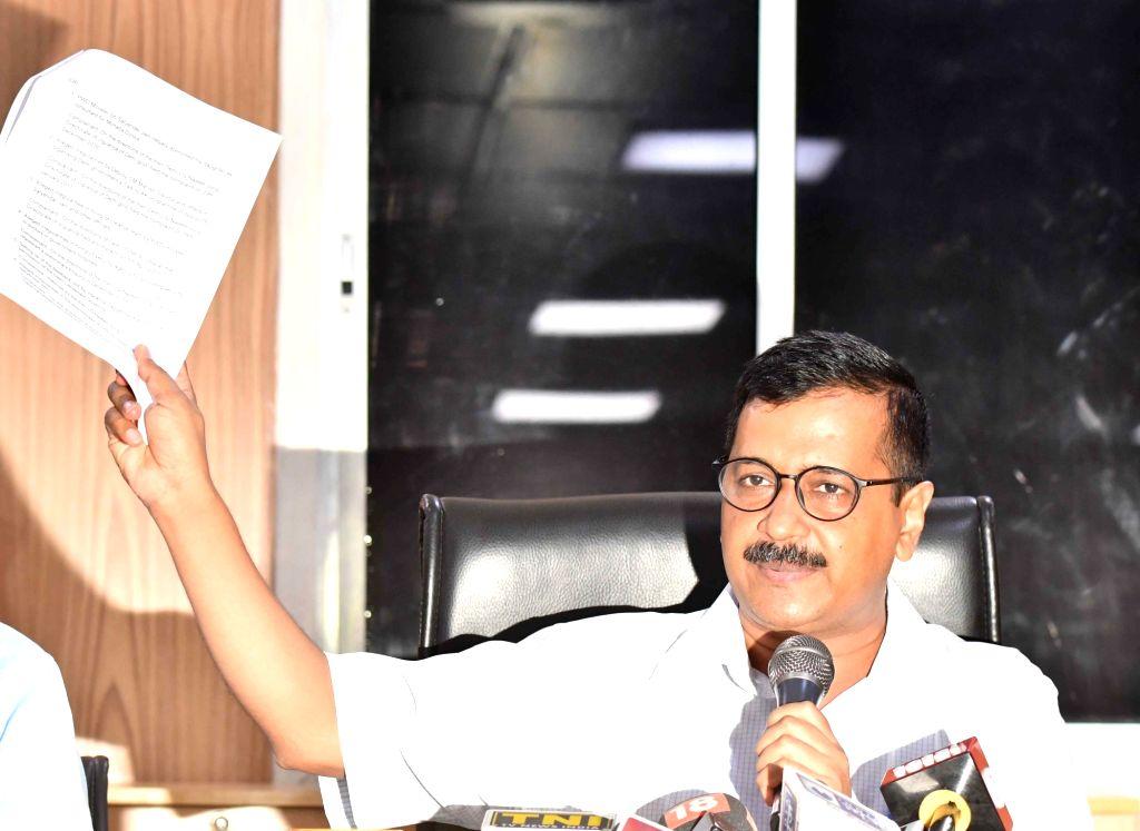 Delhi Chief Minister Arvind Kejriwal addresses a press conference, in New Delhi on June 11, 2018. - Arvind Kejriwal