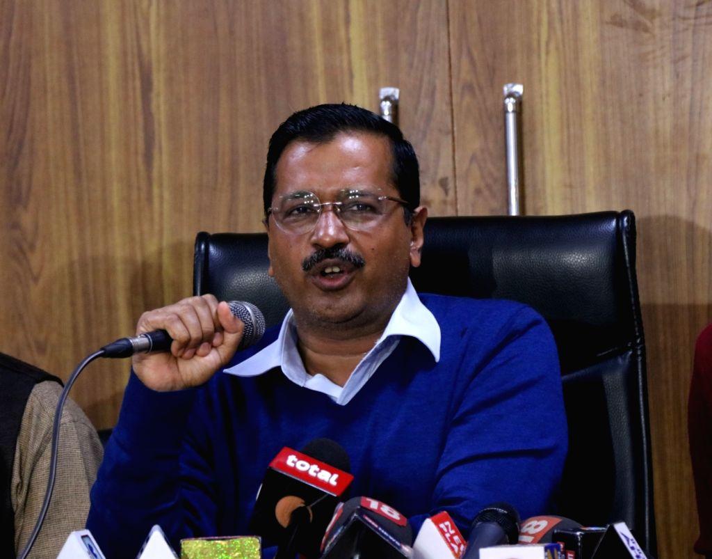 Delhi Chief Minister Arvind Kejriwal addresses a press conference in New Delhi on Feb 14, 2019. - Arvind Kejriwal